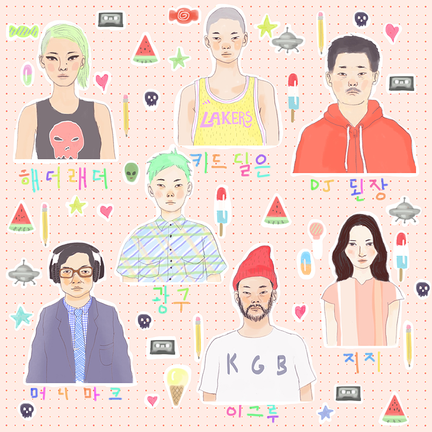 Tae Lee art for the band Mangchi - featuring Heather Leather, Dylan the Kid, DJ Denjahng, Steebee Weebee, Momo, Money Mark, and Igloo Hong