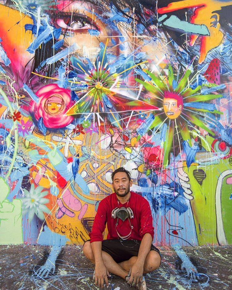 David Choe with finished mural for Wynwood Walls and their FearLessWalls 16' exhibit. Photo credit: Martha Cooper