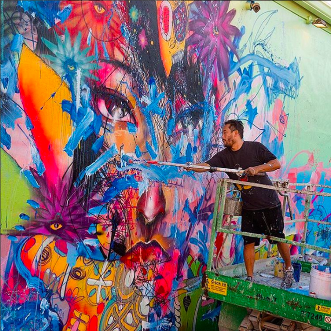David Choe working on mural for Wynwood Walls in Miami
