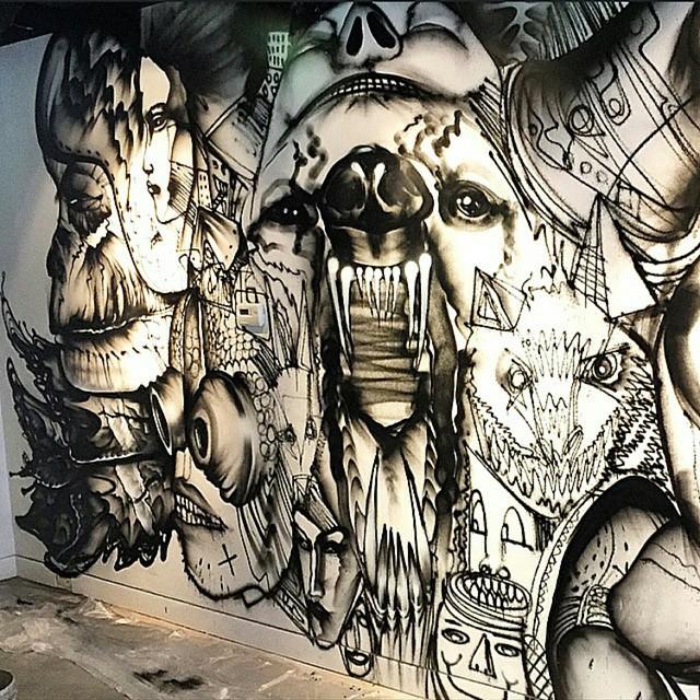 David Choe graffiti art at Momofuku