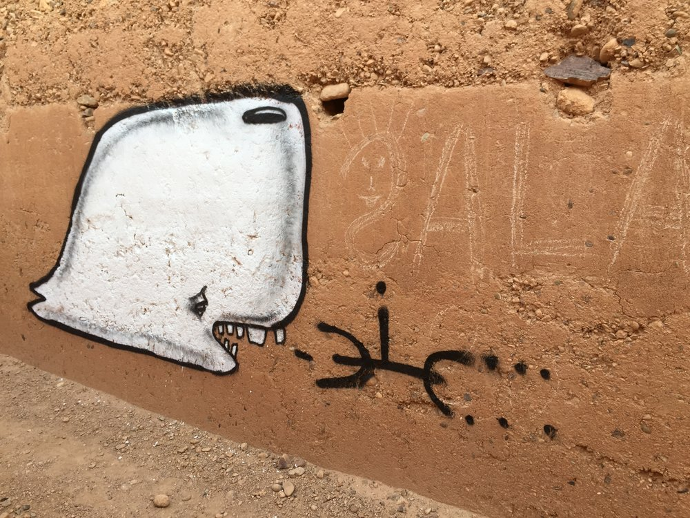 Munko mural for Igloo Hong art interventions by artist David Choe in Adgz, Morocco 2016