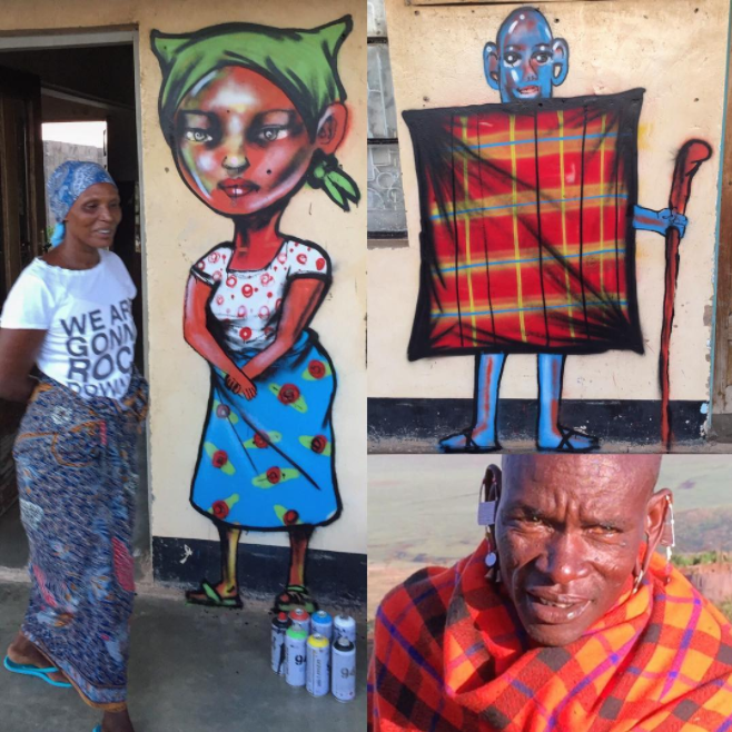 David Choe public art with spray paint - Mangola, Manyara, Tanzania