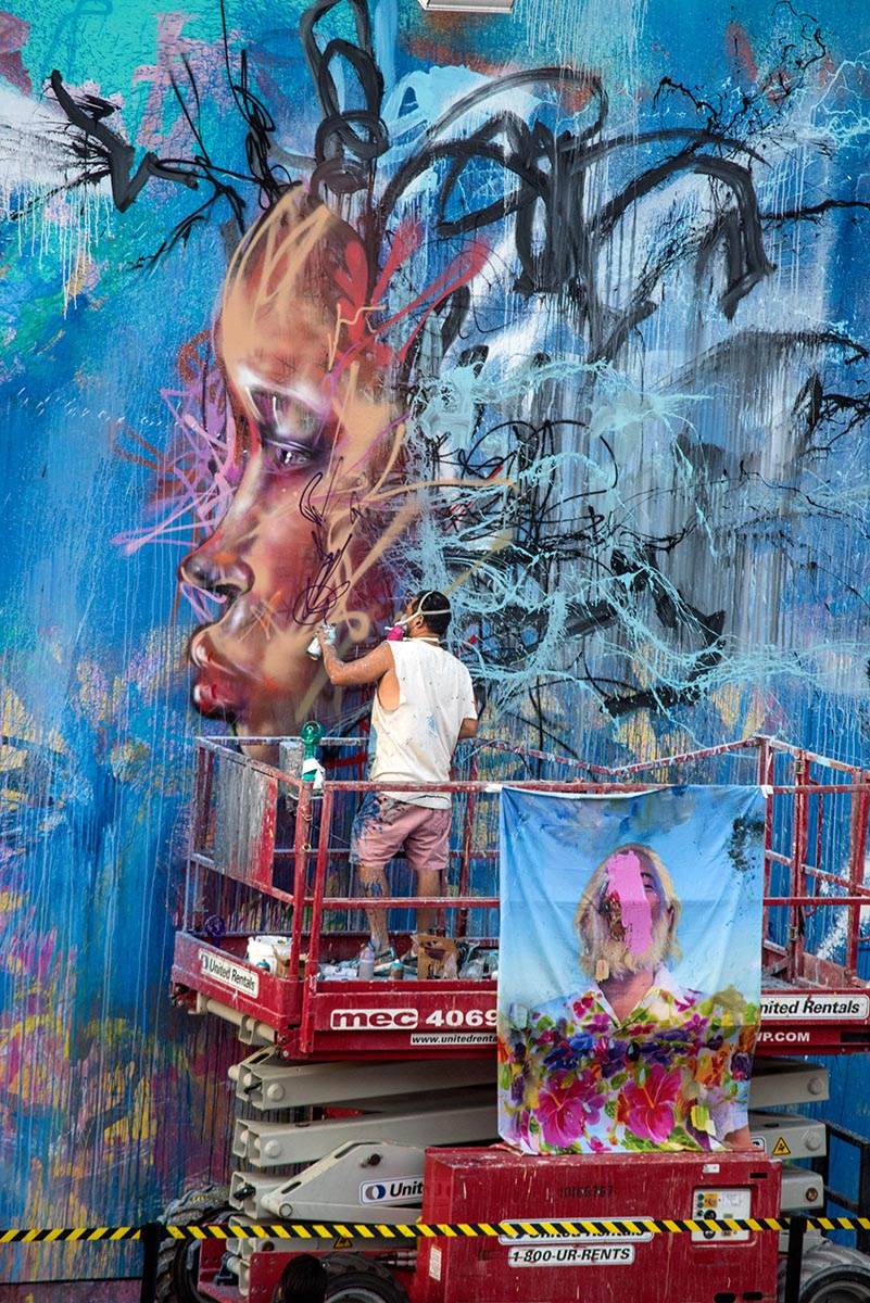 Artist David Choe mural at the Bowery in New York with the Choe Show iconic image draped in view. Photo by Martha Cooper.