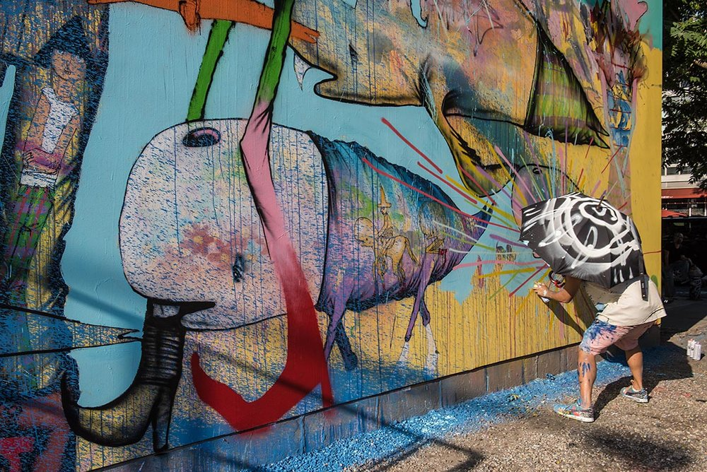 David Choe at the Bowery graffiti wall in New York. Photo by Martha Cooper.