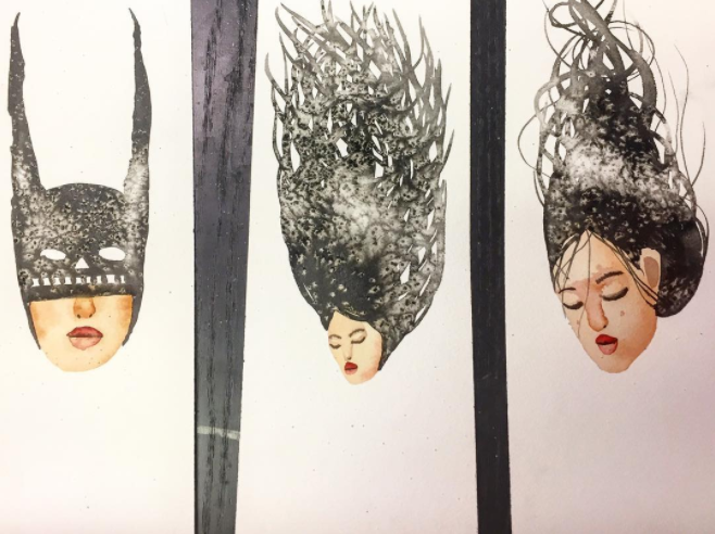 David Choe watercolors - batgirls and hairdos