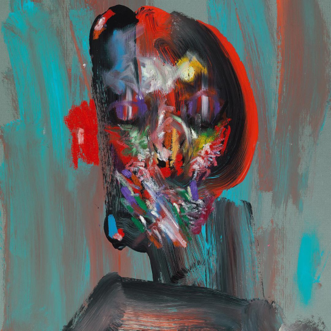 David Choe mixed media face