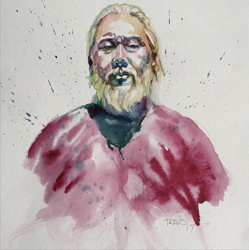Watercolor portrait of David Choe