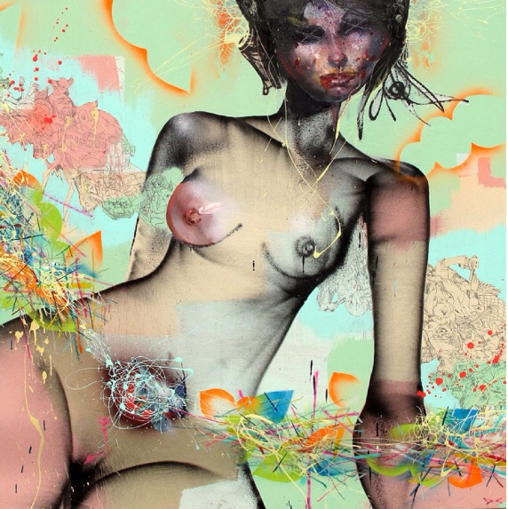 David Choe nude mixed media painting