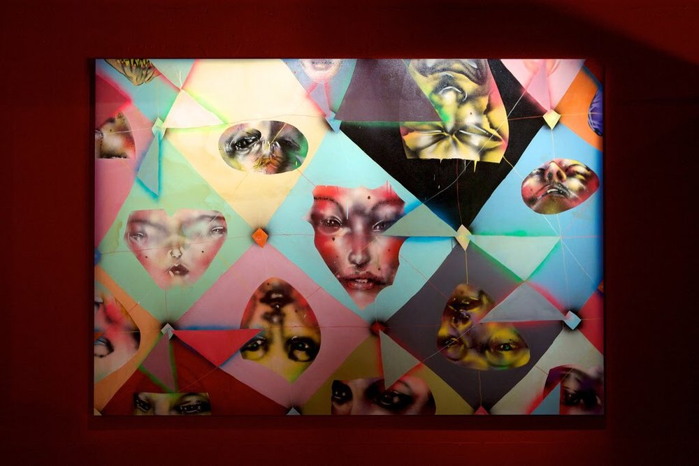David Choe geometrical painting of diamond-shaped women's faces