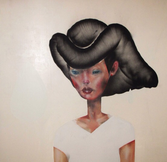 David Choe spray paint art - woman with amazing hair