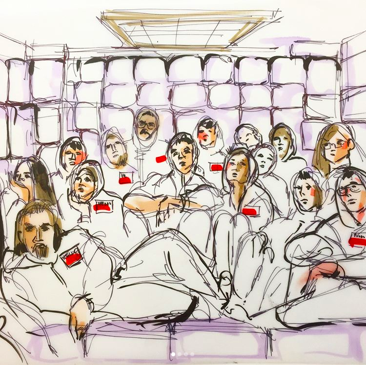 The Choe Show white padded room sketch by courtroom artist Mona Edwards