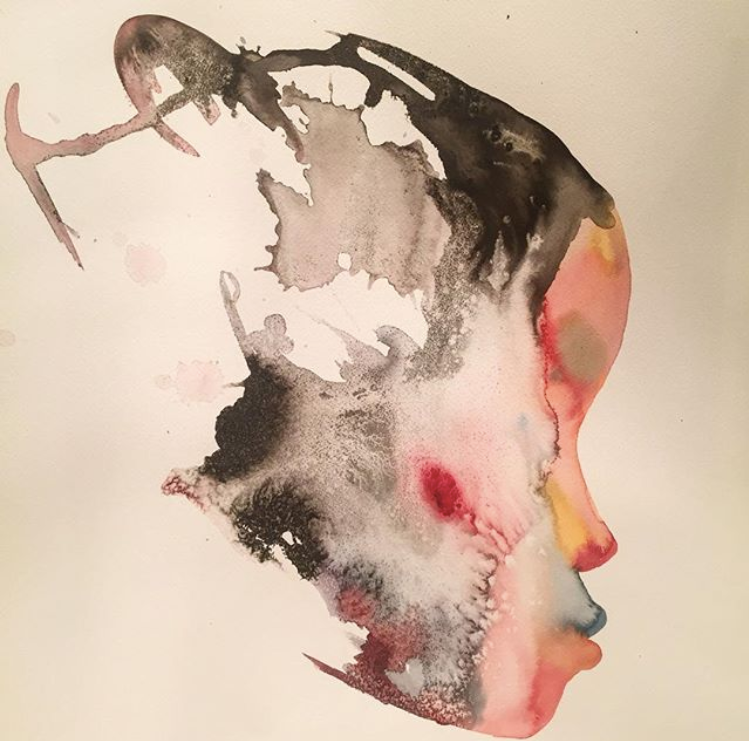 David Choe connected watercolor profile painting