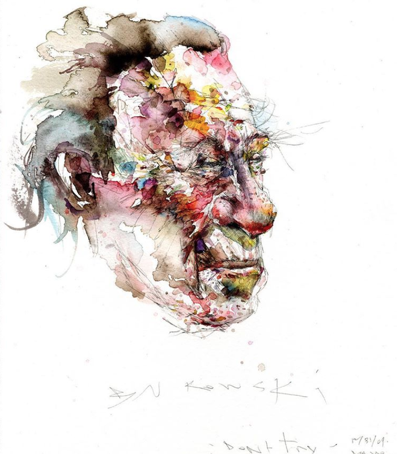 David Choe watercolor portrait of David Bukowski - Dont Try