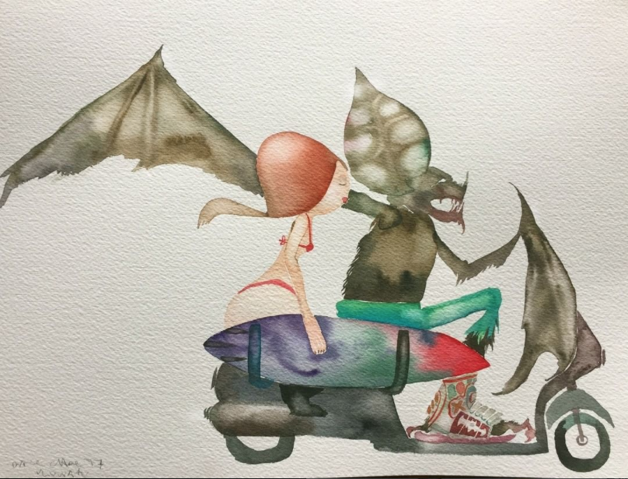 David Choe Bat Surfer - Bali watercolor painting