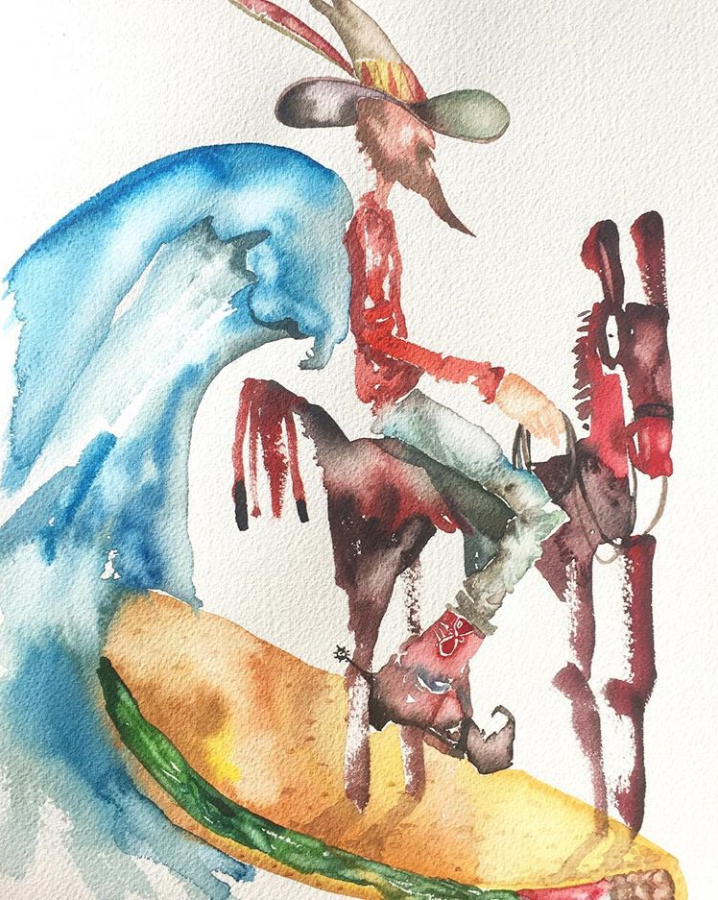 David Choe Cowboy Taco Surfer watercolor painting