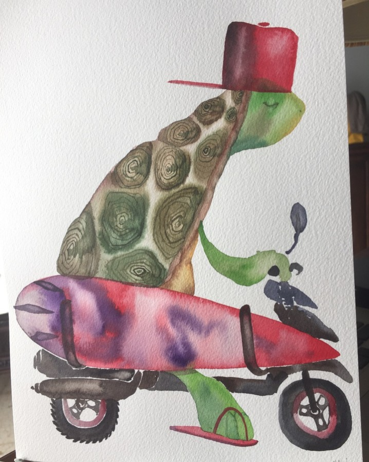 David Choe Turt Scoot Bali watercolor