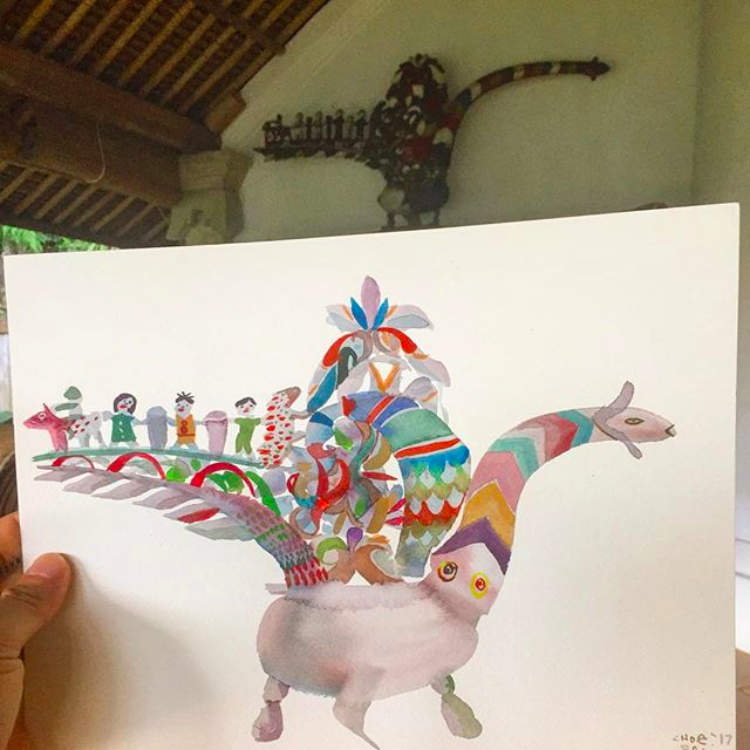 David Choe Bali watercolor study