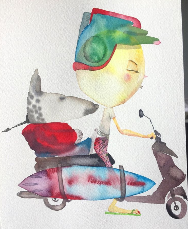 David Choe Backseat Meditation Bali watercolor