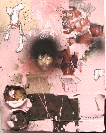 Pink Socks by David Choe Frice Show 2006 mixed media art