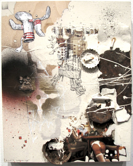 Beige Socks by David Choe Frice Show 2006 mixed media art