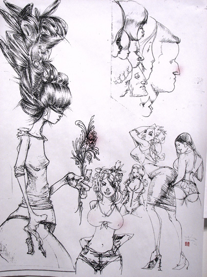 Chicks N Noses by David Choe Frice Show 2006 art