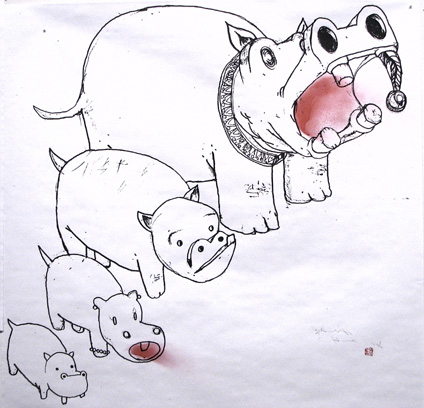Hippo Family by David Choe Frice Show 2006 art