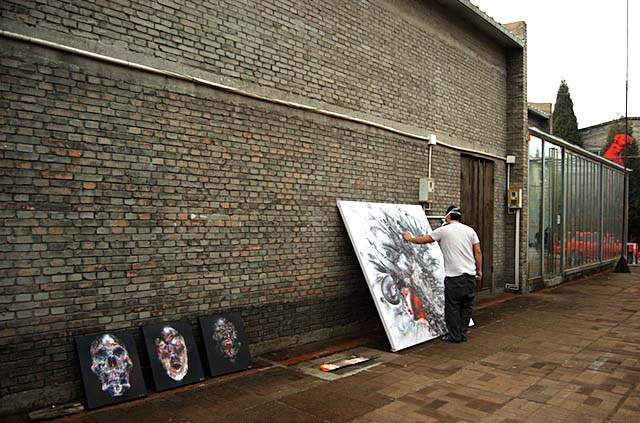David Choe working on Death Blossom show at PYO Gallery in Beijing, China 2009