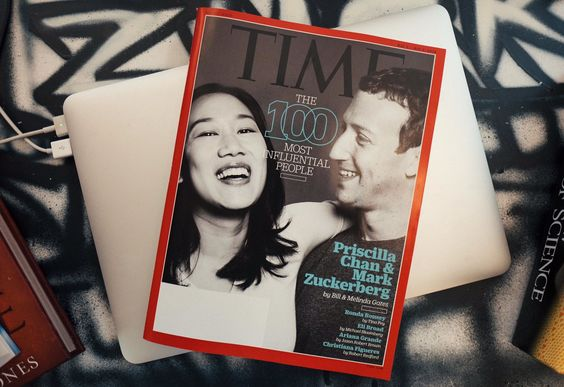 Facebook's Mark Zuckerberg cover of Time magazine on his desk painted by artist David Choe