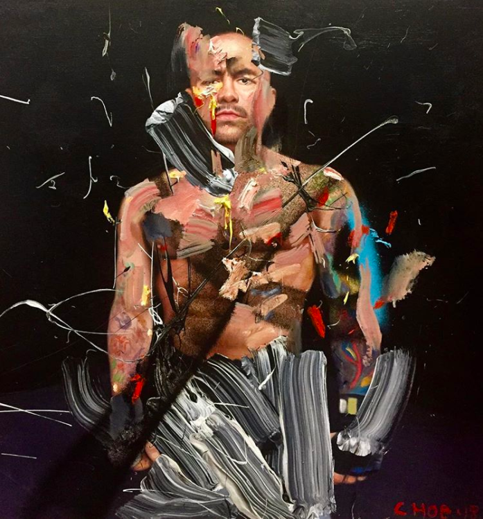 Joe Rogan oil painting by artist David Choe - Choe Show 2017