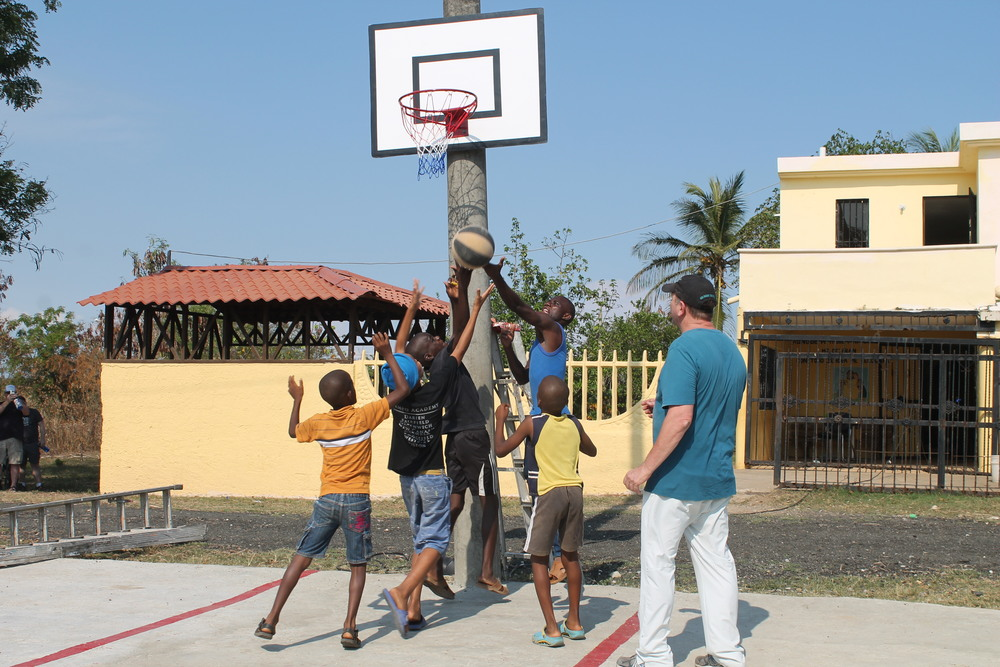 Jay and the guys shooting Hoops