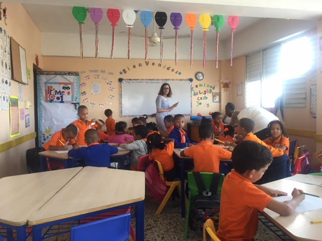 the new desks and chairs in this classroom were possible thanks to thrive in Joy Nick fagnano foundation donors