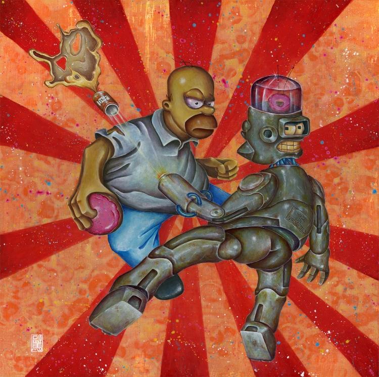 Homer Simpson vs Mecha Homer Simpson