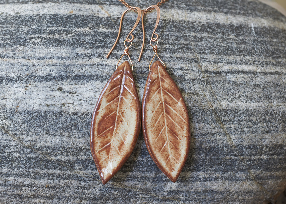 Alpine Leaf Earrings with holes instead of high fire wire and copper jewelry wire and earring hooks