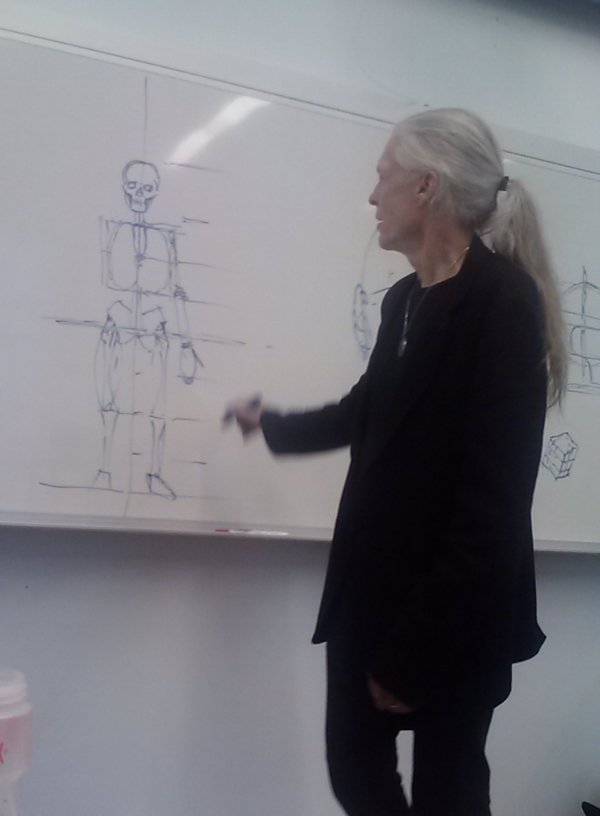 Alex Grey teaching anatomy drawing at In:Sight Visionary Art Intensive.