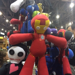 We sold our hero and villain voodoo dolls. They were a great way to take out con-traffic aggression!