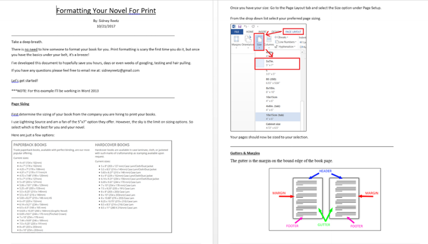The formatting guide is colorful and easy to follow!