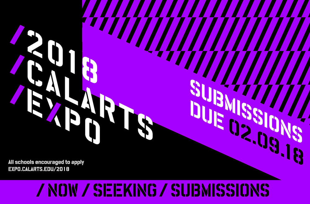 Submissions poster for the  Digital Arts EXPO  at CalArts, a showcase of art, music, theater, dance, and critical studies. Designed in collaboration with Junki Hong.