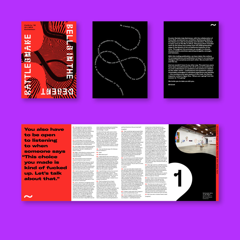 Rattlesnake Bells in the Desert . Catalog design for the CalArts 2018 post-graduate art exhibition, featuring work by 32 different artists.