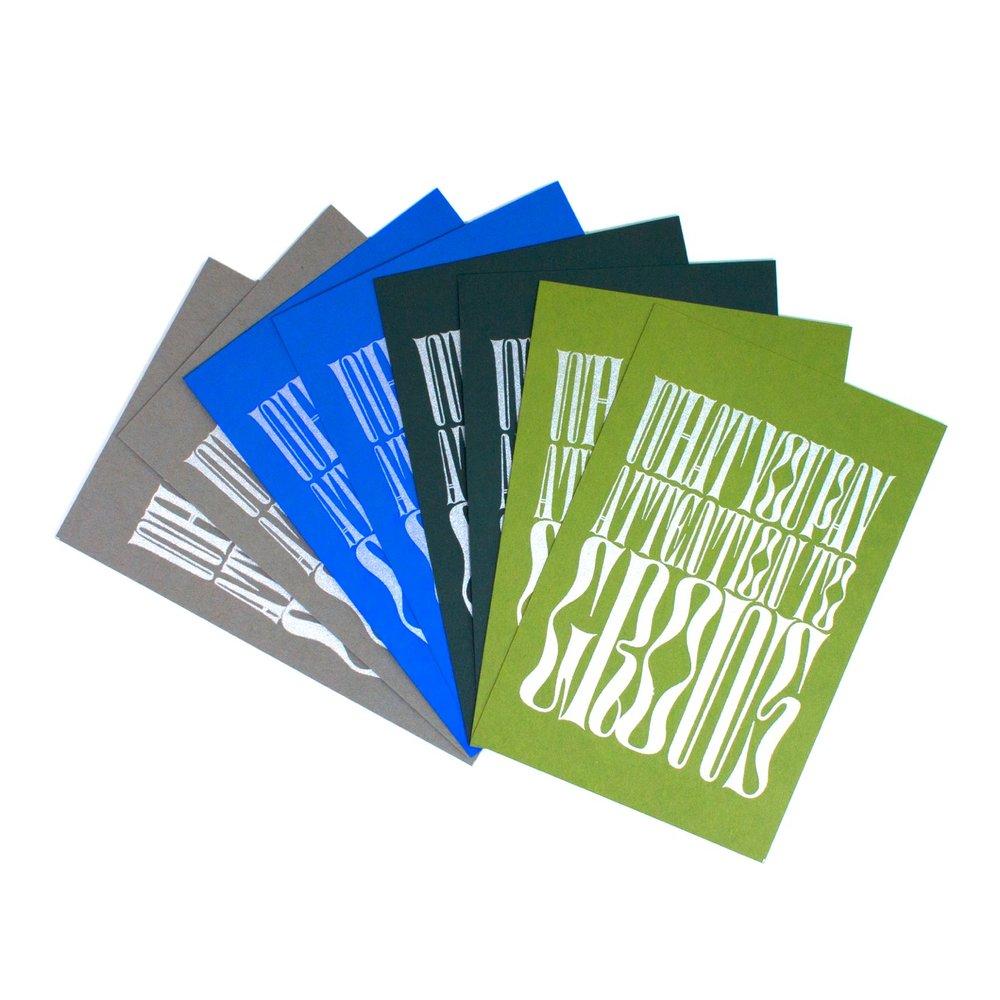 Metallic Silkscreen Postcards