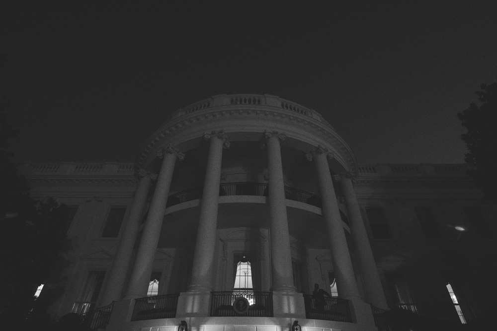 The portico of the White House nearing daybreak.