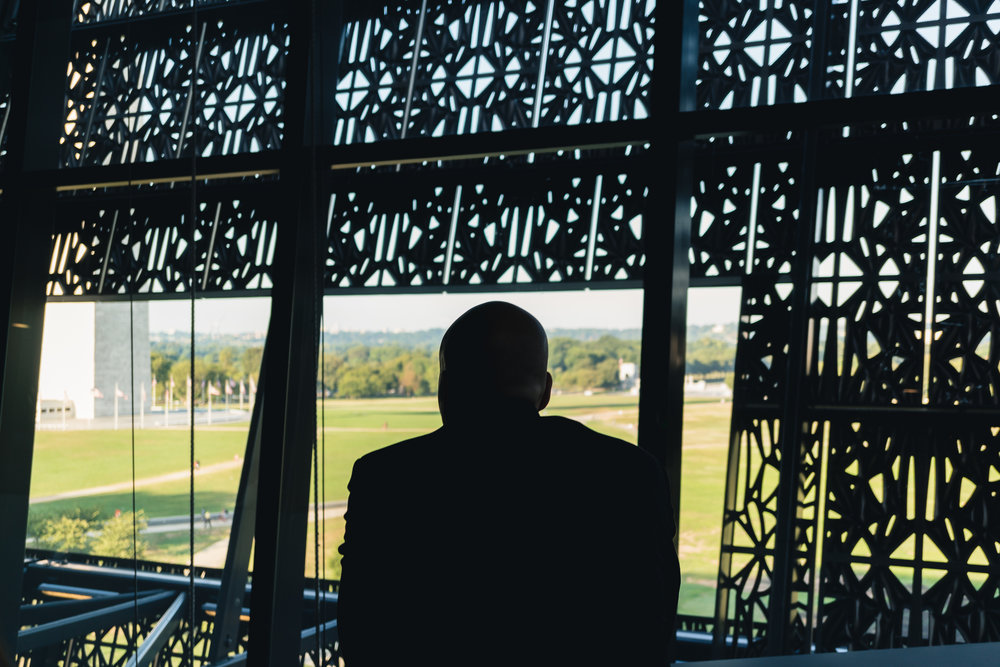 Senator Cory Booker looks out towards the National Mall.