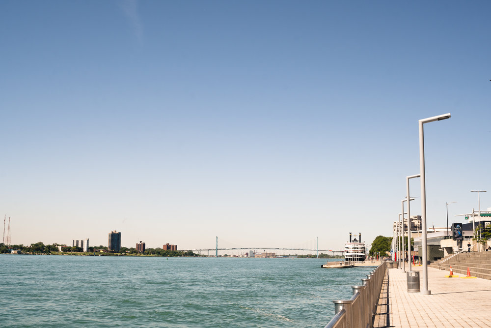 That's Windsor, Canada, on the left, and the Ambassador Bridge in the distance. -