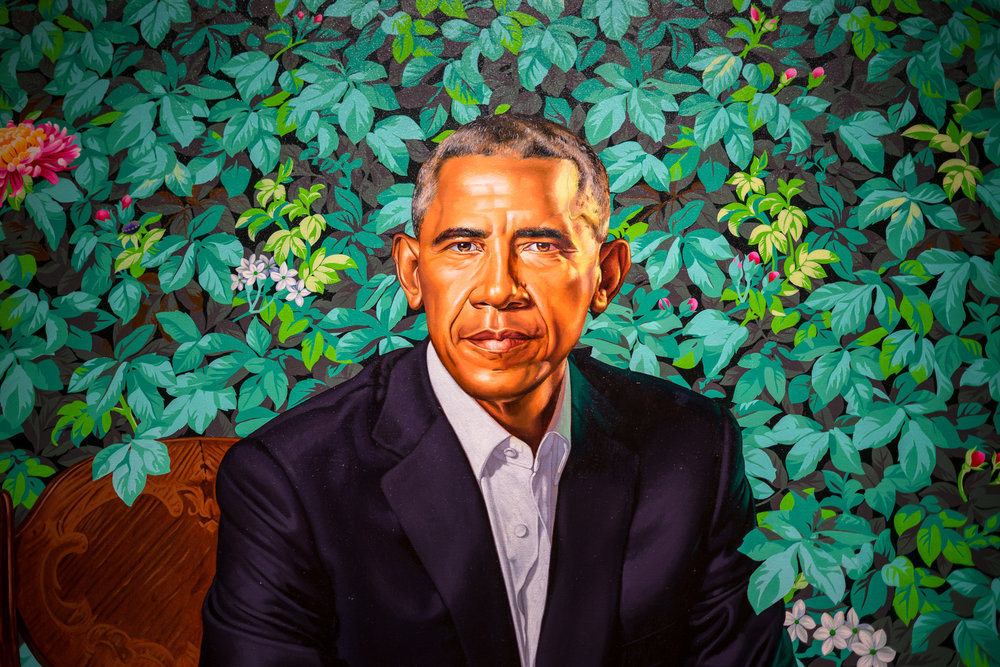 Portrait of Barack Obama by Kehinde Wiley - oil on canvas, 201892