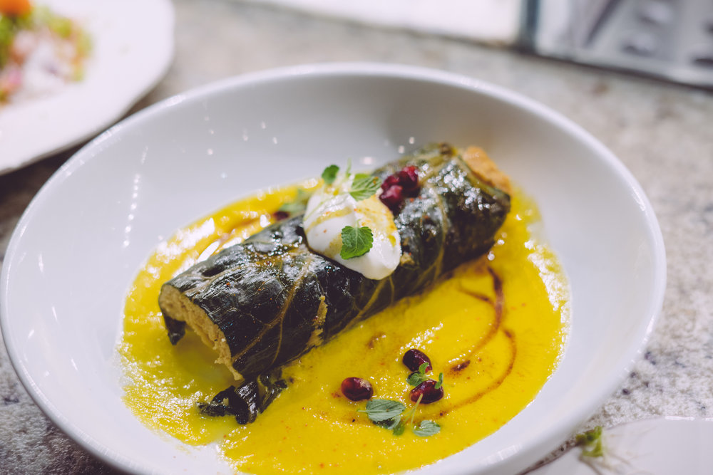 Fall squash tamale with yogurt, pomegranate, and chile manzano.