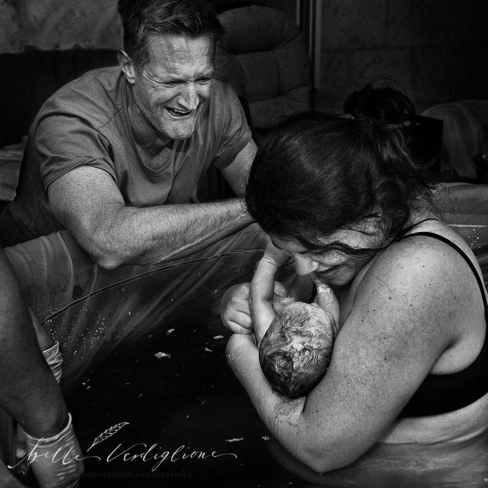 Belle Verdiglione Birth Photography Photographer Perth Waterbirth New Mum Dad Newborn