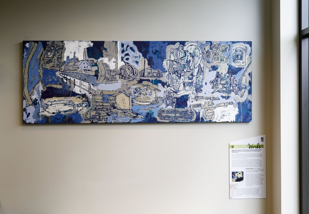 "From the river to the stars, 84"" x 30"", acrylic on canvas, 2017,  Miamisburg Branch, Dayton Metro Library Commissioned by the Dayton Metro Library in partnership with the Dayton Art Institute"