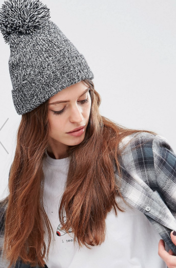 ASOS Short Turn Up Pom Beanie
