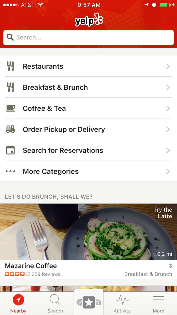Current iOS UI for Search Nearby