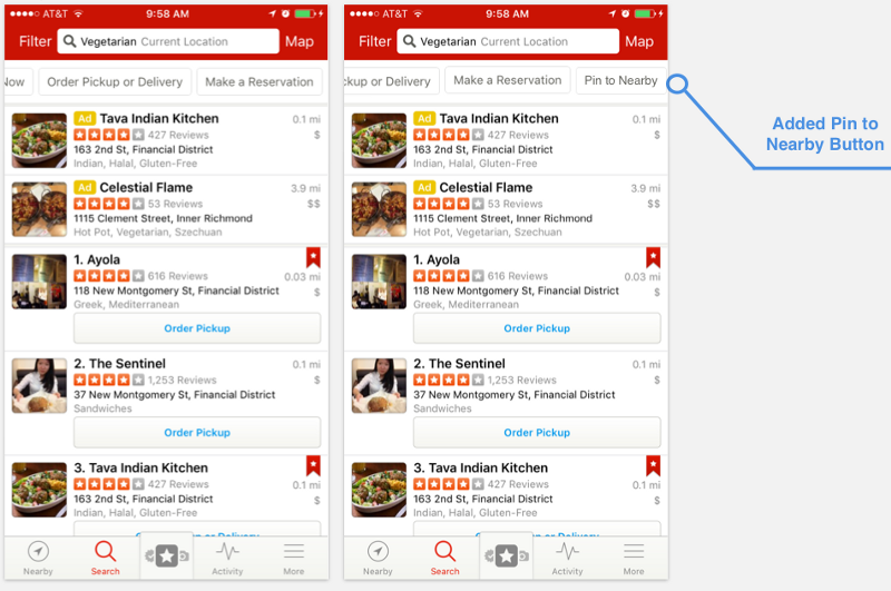 Original vegetarian search results (left). New version (right).