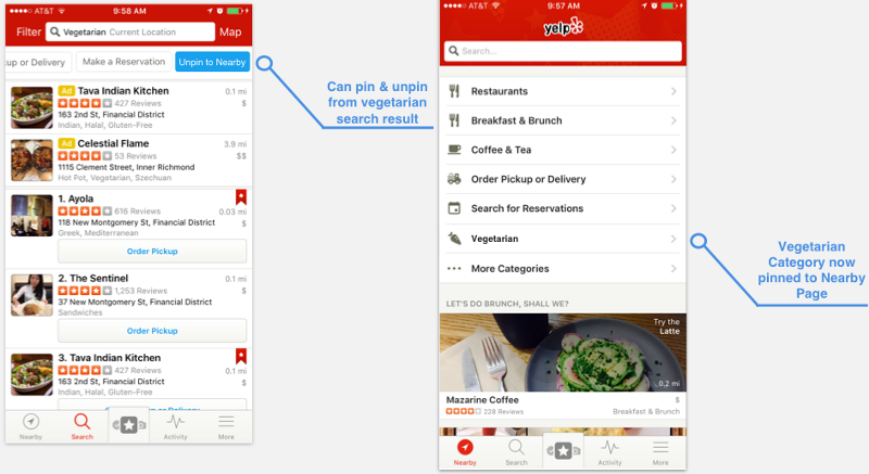 Pin Nearby Button active (left). Updated Nearby Page (right).